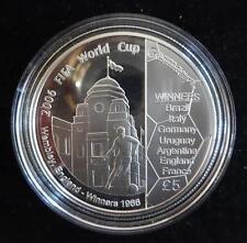 2006 SILVER PROOF GUERNSEY £5 COIN + COA  WORLD CUP FOOTBALL 2006 ENGLAND 66 ANN