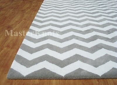 Brand New Modern Chevron Zig Zag Grey Handmade Woolen Area Rug Carpet