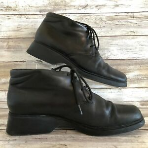 Harve-Benard-Womens-Debbie-8M-Chukka-Ankle-Boot-Black-Leather-Lace-Up