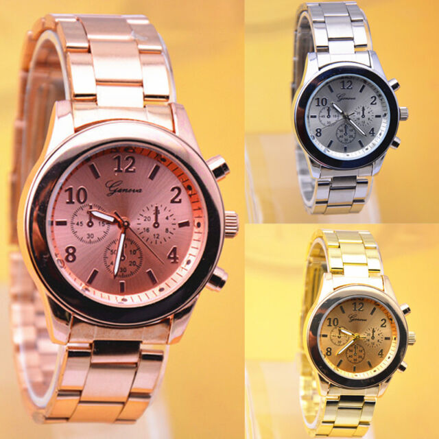 New Fashion Geneva Ladies Women Girl Unisex Stainless Steel Quartz Wrist Watch
