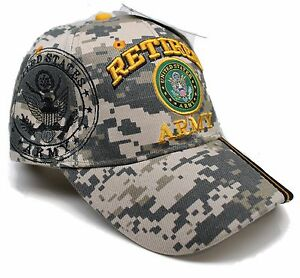 a28de48481c71 Adult Military US Army® Retired With Blk Seal Camouflage Adjustable ...