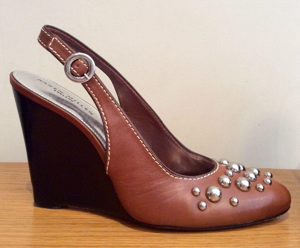 grande sconto Karen Millen cuneo SCARPE SCARPE SCARPE TAGLIA 39 Pelle Marrone ALL. dietro a perno argento  garanzia di qualità