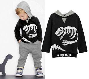 e3ba2e4de40b Kid Baby Boy Girl Dinosaur Hoodie Hooded T-shirt Top Clothes Jumper+ ...