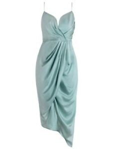 187cb654a9 Image is loading Zimmermann-Sueded-Silk-Plunge-Midi-Cocktail-Dress-Seafoam-