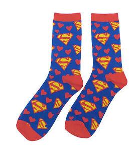 Socks Men's Clothing Fashion Style Dc Comics Superman Cœurs Filles Femmes Chaussettes Crew Crease-Resistance