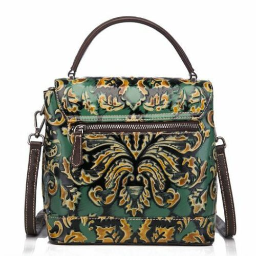 Details about  /New Women Genuine Cow Leather Shoulder Bag Embossed Handbag Purse Travel Green
