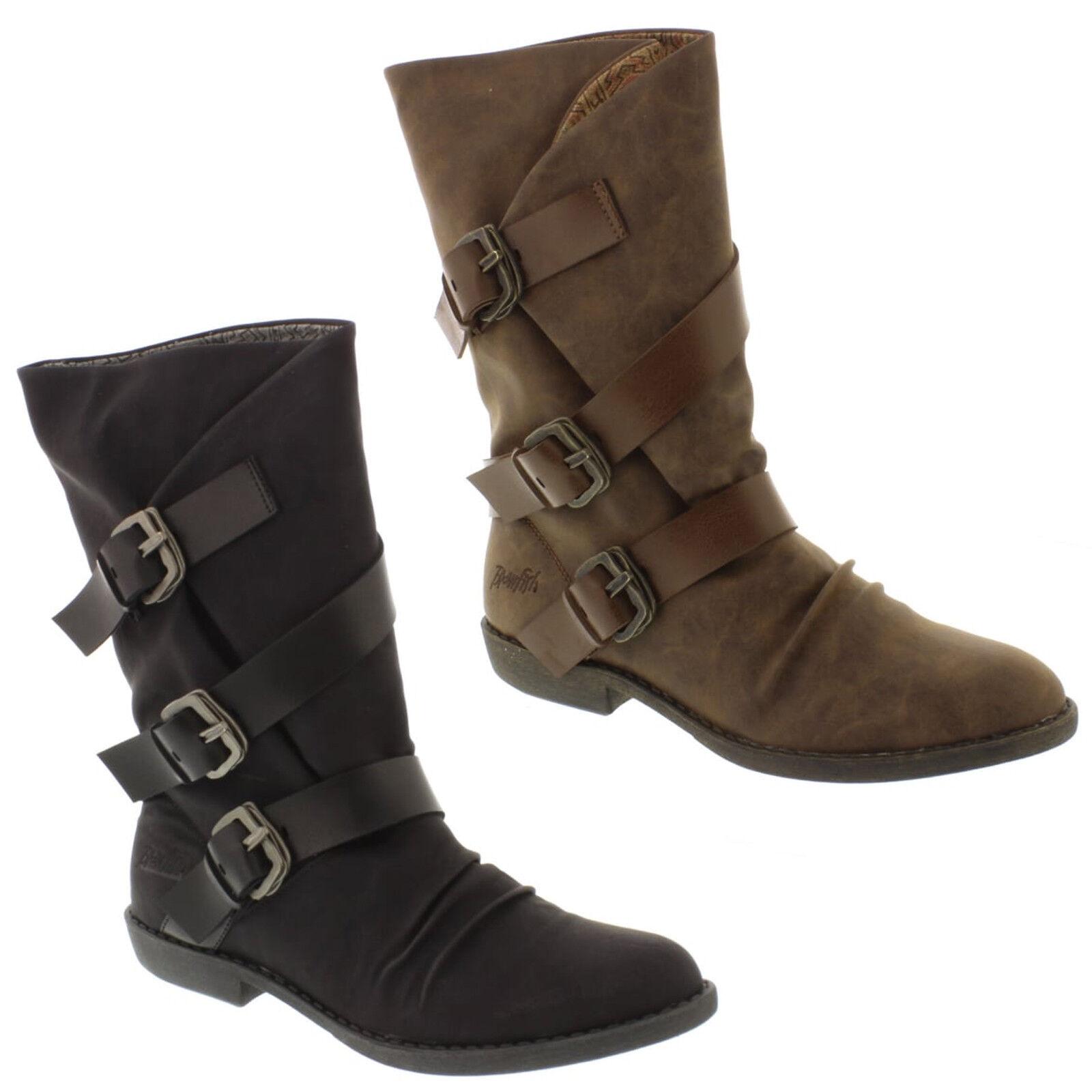 Blowfish Malibu Alms Boots Womens Tall Buckle Detail Winter Heeled Shoes