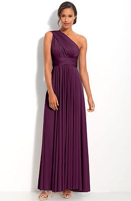 NEW TWOBIRDS Bridesmaid Convertible Jersey GOWN SIZE B $330 PLUM 14-24