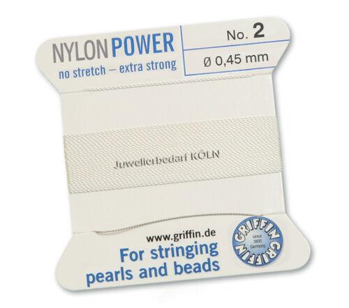 Perlfaden; 2m 1 Nadel; versch Stärken Griffin NylonPower weiß Perlseide