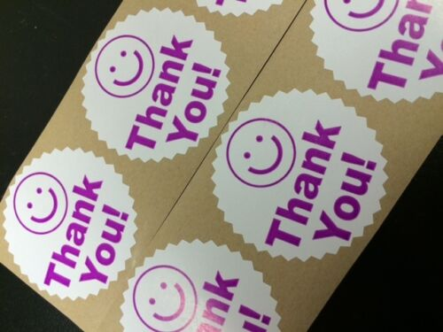 "50  BIG THANK YOU LABEL SMILEY 2/"" STICKER Starburst Purple Color Thank You  NEW"