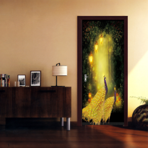 e3be3723be Image is loading 3D-Fantasy-Forest-Peacock-Door-Wall-Mural-Wallpaper-