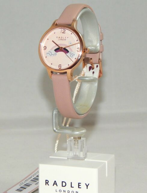 New Ladies Radley London Rainbow Scottie Dog Beige Leather Strap Watch / RRP £85
