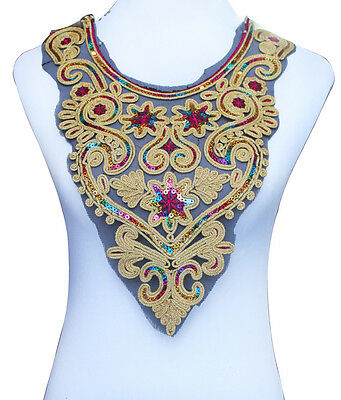 1pc Gold Metallic Lace Neckline Collar Beaded Sequin Embroidered Patches T527