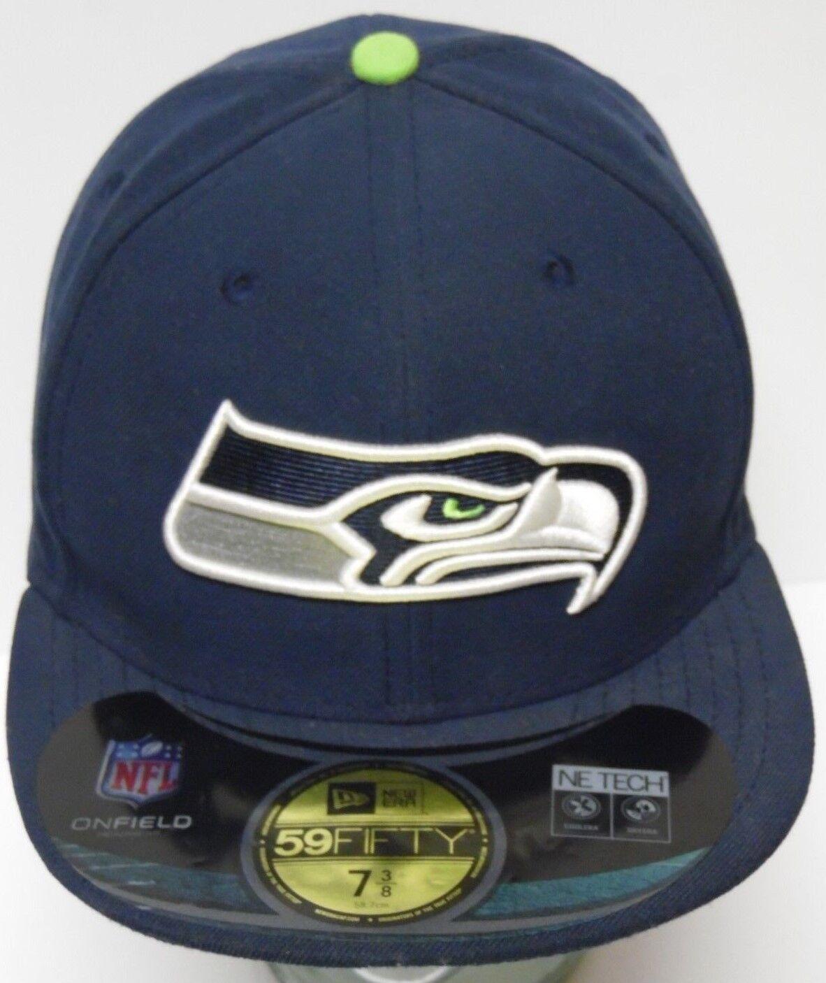 NEW 7 SEAHAWKS 3/8 NEW ERA SEATTLE SEAHAWKS 7 ON FIELD NFL FOOTBALL 59FIFTY HAT CAP NE TECH 84d329