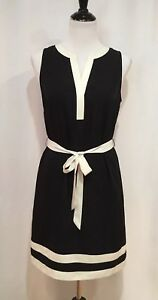 Ann Taylor Black Sleeveless Sheath Dress With Ivory Collar