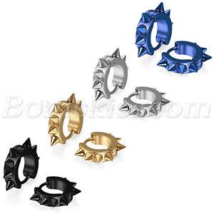 Men-039-s-Women-039-s-Punk-Stainless-Steel-Spike-Rivet-Huggie-Hoop-Clip-Cuff-Earrings