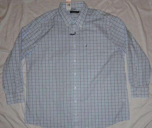 NEW NAUTICA Button Down Shirt Mens Big 3X 3XL XXXL Blue Plaid NWT!