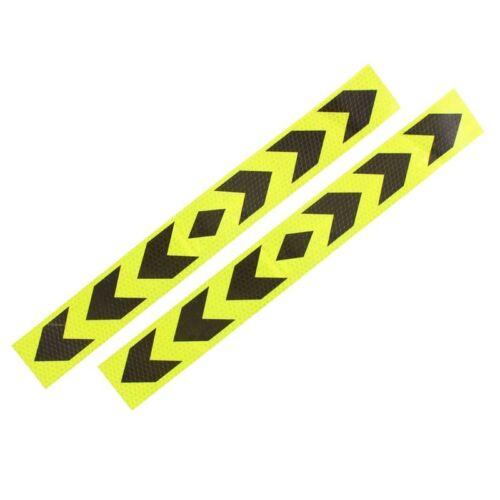 Reflective Car Warning Signal Adhesive Tape Yellow Black 2Pcs F4J1