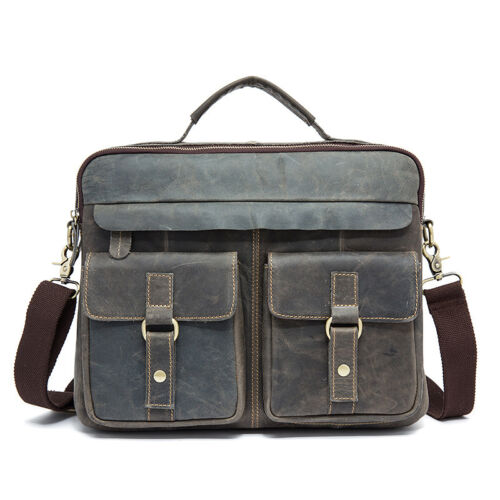 Hand Made Men/'s Retro Real Leather Messenger Laptop Briefcase Satchel Bag