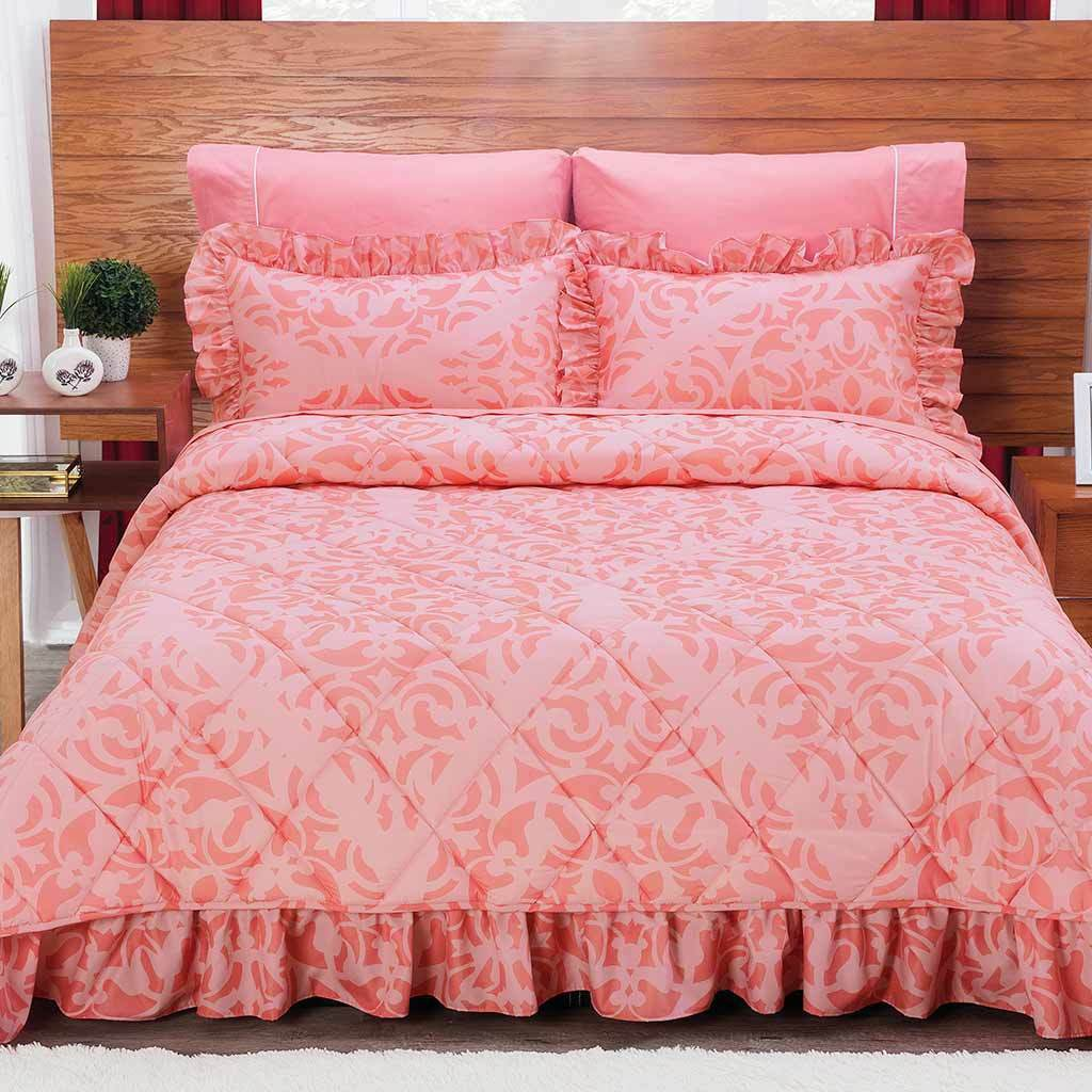 Beverly Coral Bedspread Sheet Set New Girls Home Coverlets Bedding Colcha Intima