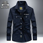 Brand New AFS JEEP Men Fashion Long Sleeve Cotton Casual Slim Fit Shirts