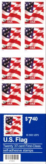 2002 37c American Flag, SA, Booklet of 20 Scott 3636c M