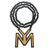 Wooden Young Money Ent. Pendant Chain Necklace Good Wood Lil Wayne Hip Hop Ymcmb