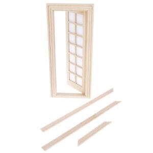 1-12-Dollhouse-Miniatures-Wood-Door-Unpainted-14-pane-DIY-Furniture-Accessor-u