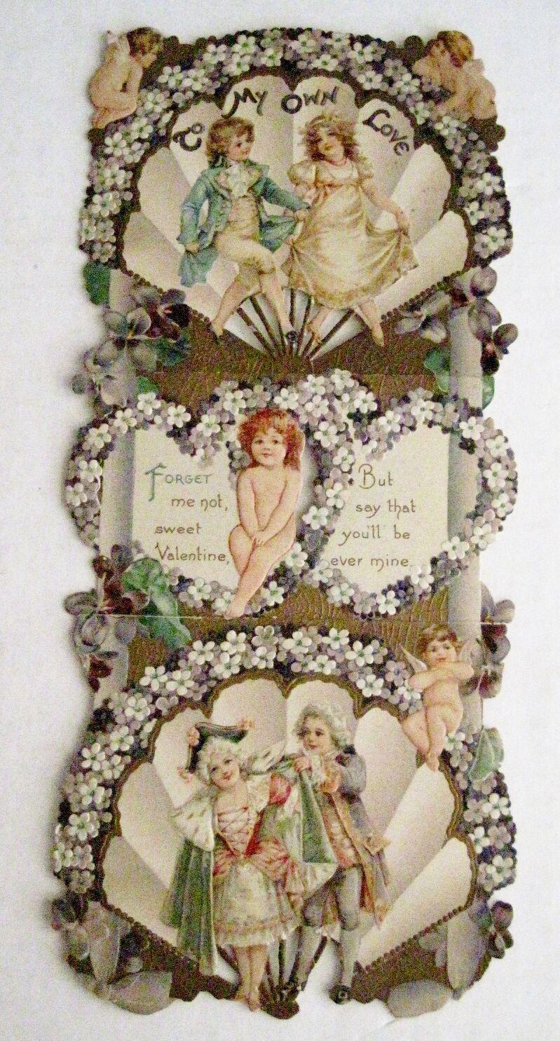 Victorian Valentine carte avec Précieux Petit CUPIDS & fleurs violettes
