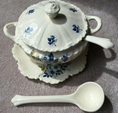 Vintage Soup Tureen Large Blue White Spongeware Serving Bowl with Lid Handles /& Ladle