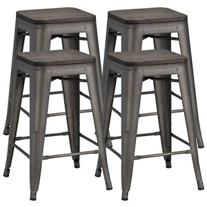 Surprising Details About 24 Metal Barstools Counter Height Stool Chairs With Wood Top Indoor Outdoor Customarchery Wood Chair Design Ideas Customarcherynet