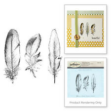 SPELLBINDERS 3D Shading Cling Stamp THREE FEATHERS DSC-024 Approx 2.75 x 1.00 in
