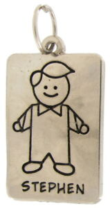 "Boy Name Jewelry Line Drawing Rectangular Charm Silver Tone 1.5"" - ""Stephen"""