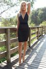 Rose Bullet Ladies Womens Black Midi Mini Bodycon Backless Dress Cocktail