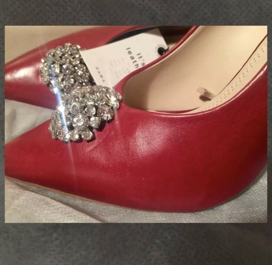 Zara AW17 Leather High Heel Court Größe schuhe With Gem Detail Größe Court 8, 9 NWT e19c36