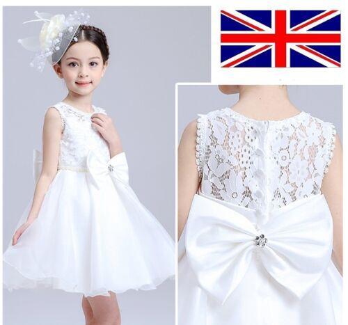 UK Seller Formal White Flower Girls Lace Bridesmaids Dress Prom 3-9 Years XK04