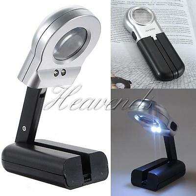 Handheld 30mm 16X Lens Magnifier LED Light Magnifying Glass Loup Folding Stand