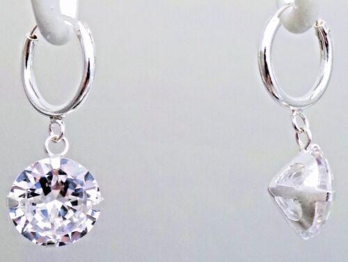 "NEW 925 Sterling Silver Sparkle Hoop CZ Dangle Earrings 1.06/"" Big Cubic Zirconia"