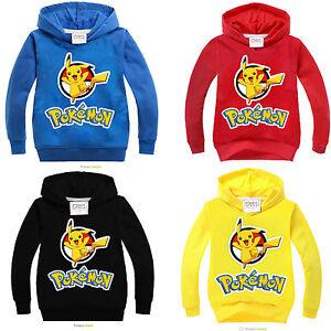 Pokemon-Pikachu-Kids-Clothes-Boy-Girls-Hooded-Sweatshirt-Long-Sleeve-Top-T-Shirt