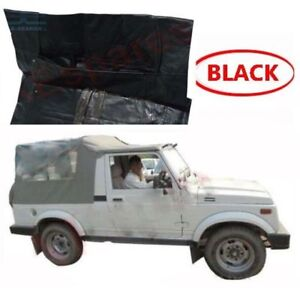Suzuki-schwarz-Softtop-Dach-Long-Body-SJ410-SJ413-Samurai-Maruti-Gypsy-King