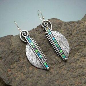 Fashion-925-Silver-Leaf-Earrings-Hook-Dangle-Women-Wedding-Gift-Party-Jewelry