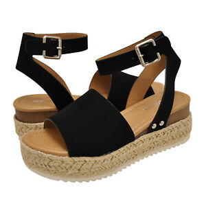 e7983ee3486 Women s Shoes Soda TOPIC Platform Wedge Espadrille Sandals BLACK