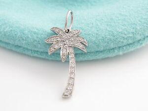 Tiffany co new mint platinum diamond palm tree charm 4 bracelet image is loading tiffany amp co new mint platinum diamond palm aloadofball Images