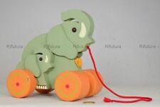 """Giocattolo legno elefanti con Ruote originale """"THUN"""" Wooden Toy wood H19cm-1CQ"""