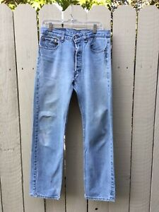 Vintage-Levi-039-s-501-Button-Fly-Distressed-Jeans-USA-Tag-Size-34x34-actual-33x29