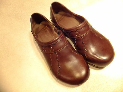 Dansko Brown Leather W/ Sewn Design/Studs Slip On Clogs ...