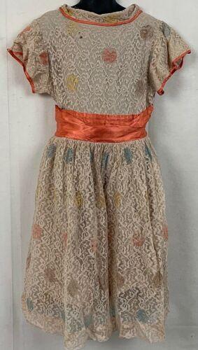 Vintage 50s Girls Lace Dress Distressed Beige Pink