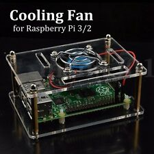 Cooling Fan for Raspberry Pi 3/2 Model B + Transparent Clear Case Enclosure Box