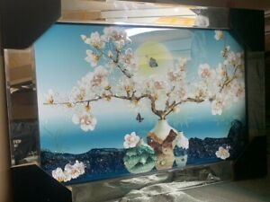 BLOSSOM-TREE-FLORAL-VINTAGE-CRYSTAL-LIQUID-ART-MIRROR-FRAME-PICTURE-SHIMMER-WALL