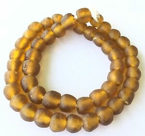 Ghana-African-Matched-Transparent-Amber-Recycled-glass-trade-beads